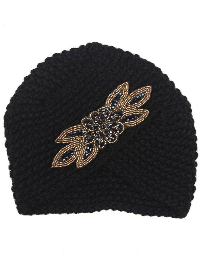 Vintage Cross Artificial Gem Embellished Crochet Knitted BeanieACCESSORIES<br><br>Color: BLACK; Hat Type: Skullies Beanie; Group: Adult; Gender: For Women; Style: Fashion; Pattern Type: Floral; Material: Acrylic; Weight: 0.0960kg; Package Contents: 1 x Hat;