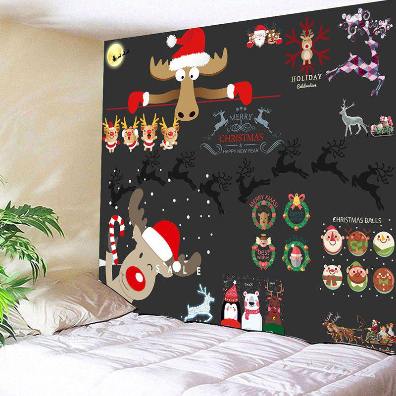 2018 Wall Decor Christmas Elements Printed Tapestry In Black W59 ...