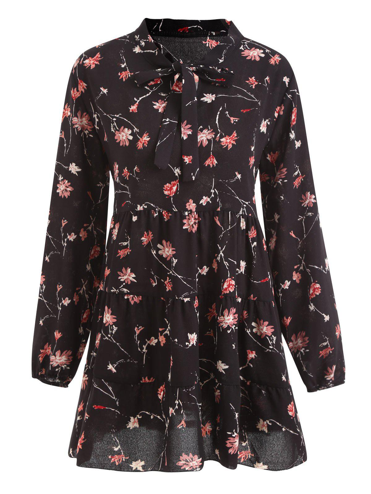 Plus Size Bowtie Floral Chiffon  Tunic TopWOMEN<br><br>Size: 3XL; Color: BLACK; Material: Cotton Blends,Polyester; Fabric Type: Chiffon; Shirt Length: Long; Sleeve Length: Full; Collar: Bow Tie Collar; Style: Casual; Season: Fall; Embellishment: Bowknot; Pattern Type: Floral; Weight: 0.2600kg; Package Contents: 1 x Top;