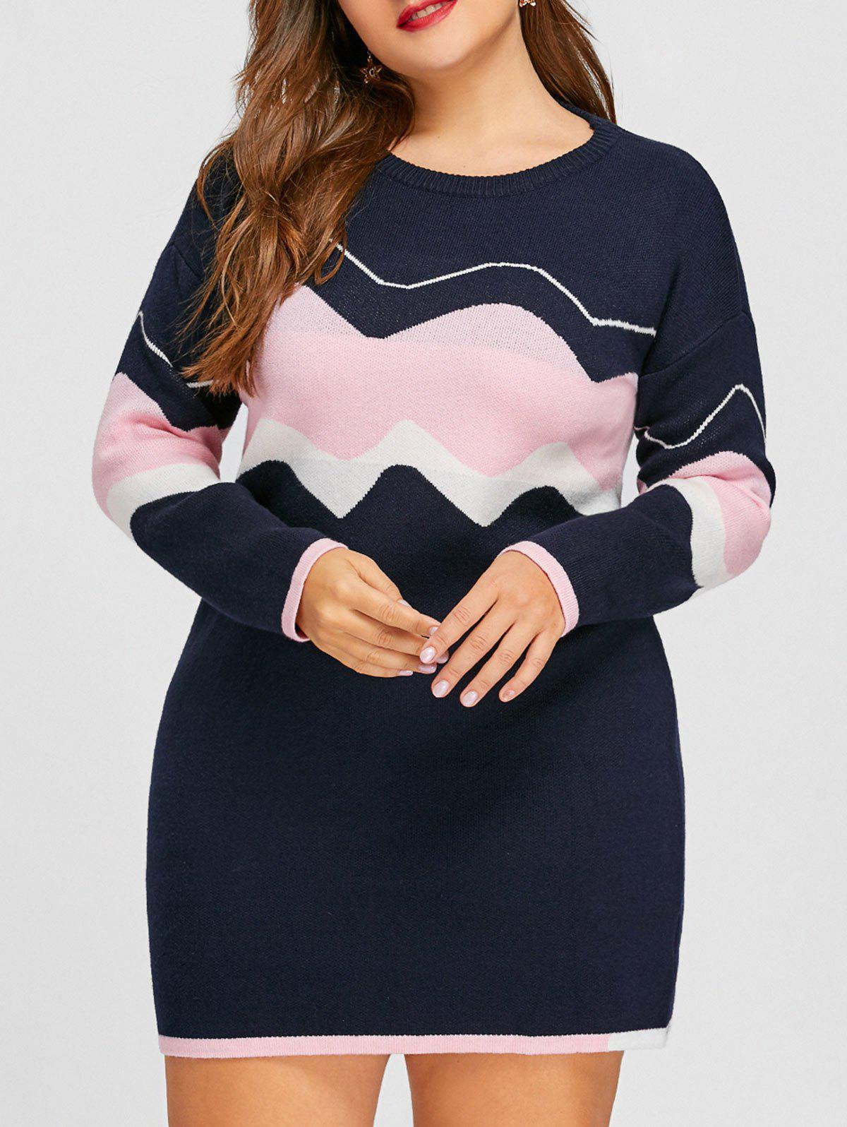 Hot Plus Size Drop Shoulder Wave Jacquard Sweater