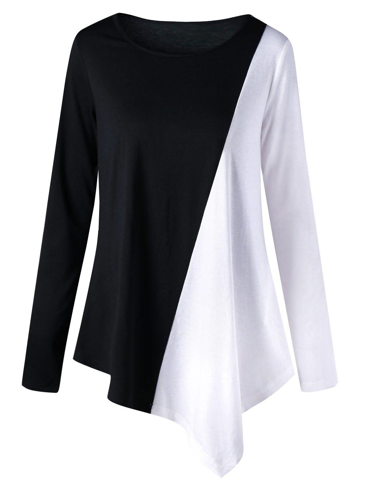 Long Sleeve Two Tone Color Asymmetric TopWOMEN<br><br>Size: 2XL; Color: WHITE AND BLACK; Material: Polyester,Spandex; Shirt Length: Long; Sleeve Length: Full; Collar: Round Neck; Style: Fashion; Pattern Type: Others; Season: Fall,Spring; Weight: 0.2560kg; Package Contents: 1 x Top;