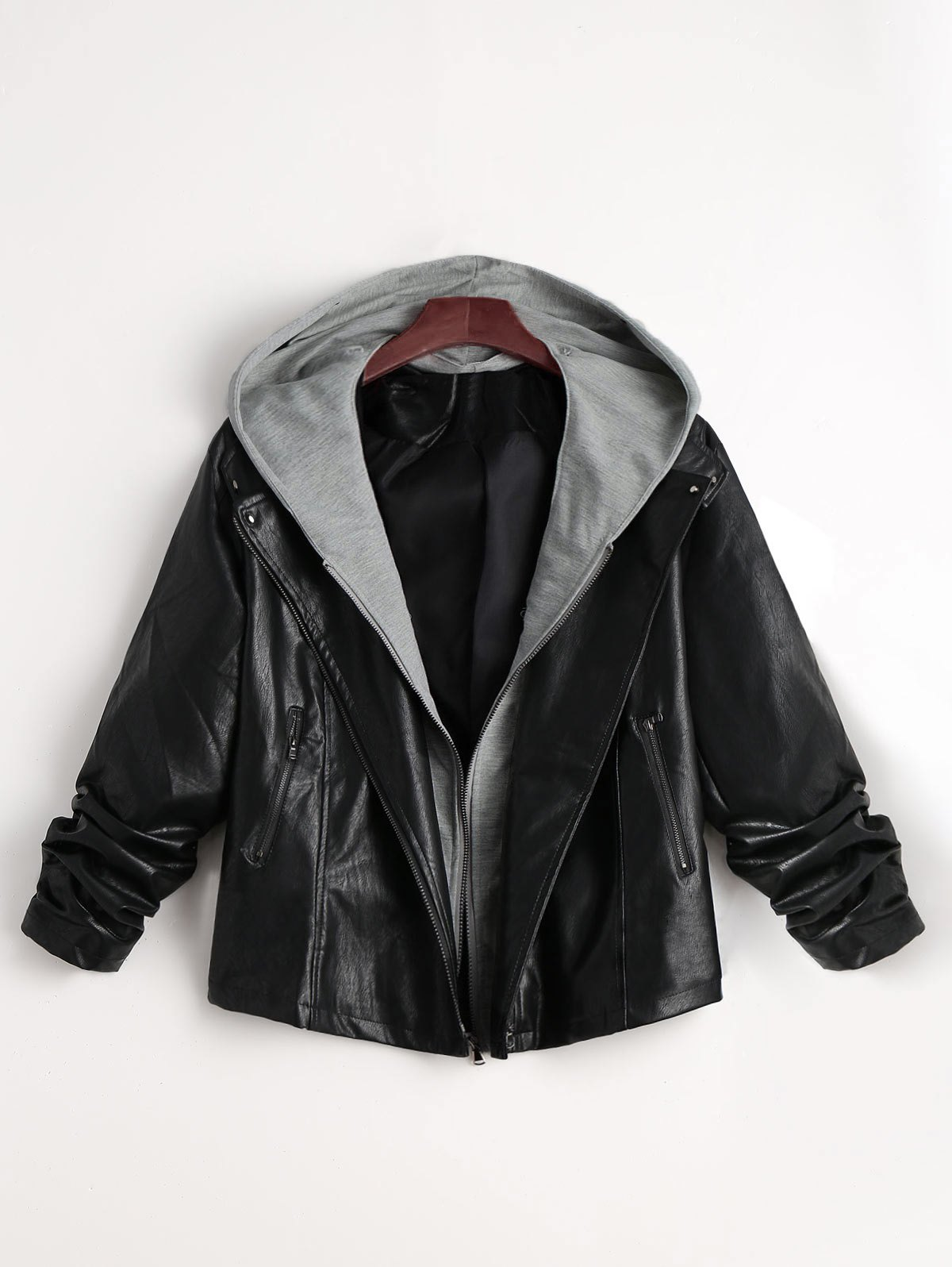 Two Tone Plus Size Faux Leather JacketWOMEN<br><br>Size: 5XL; Color: BLACK; Clothes Type: Jackets; Material: Faux Fur,Polyester; Type: Slim; Shirt Length: Regular; Sleeve Length: Full; Collar: Hooded; Pattern Type: Others; Style: Fashion; Season: Fall,Winter; Weight: 0.6200kg; Package Contents: 1 x Jacket;