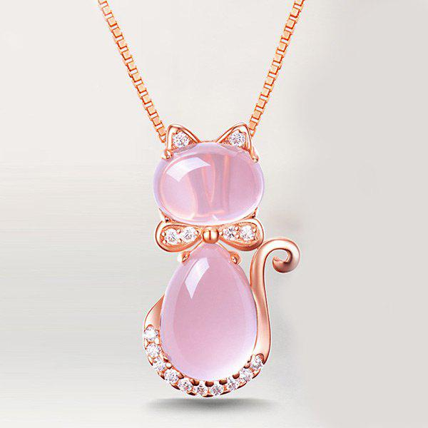 Faux Opal Rhinestone Kitten Collarbone NecklaceJEWELRY<br><br>Color: PINK; Item Type: Pendant Necklace; Gender: For Women; Material: Rhinestone; Style: Trendy; Shape/Pattern: Animal; Weight: 0.0300kg; Package Contents: 1 x Necklace;