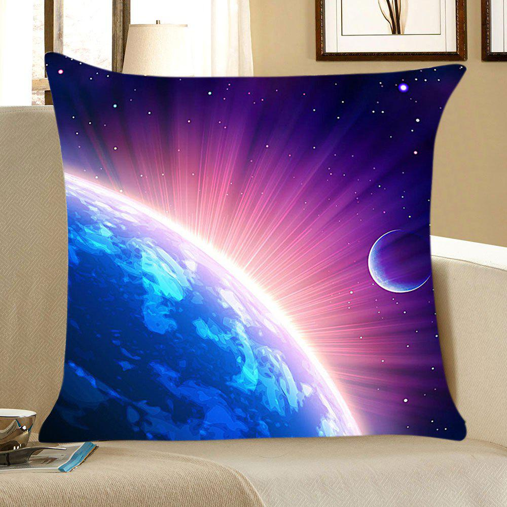 Cosmic Starlight Print Linen Throw Pillow CaseHOME<br><br>Size: W18 INCH * L18 INCH; Color: BLUE AND PURPLE; Material: Linen; Fabric Type: Linen; Pattern: Galaxy; Style: Natural; Shape: Square; Weight: 0.0700kg; Package Contents: 1 x Pillow Case;