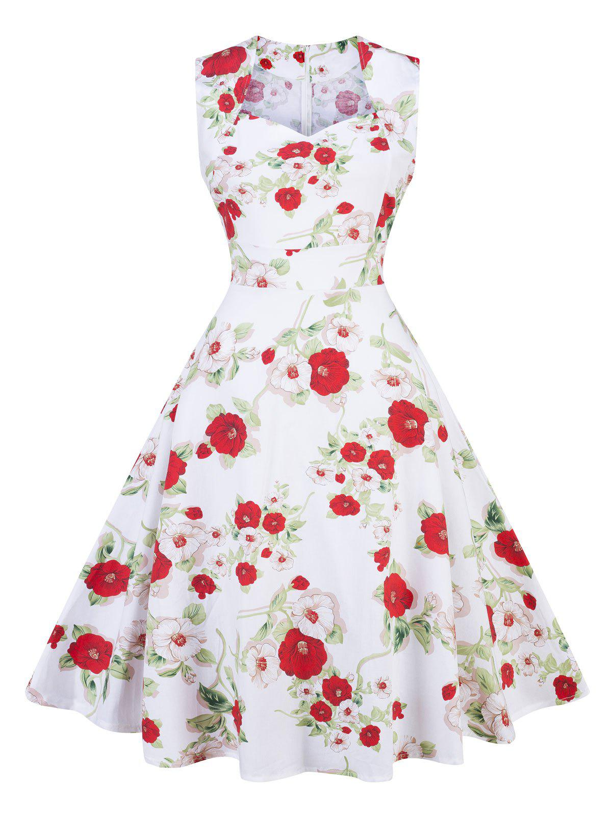 Vintage Floral Print Pin Up Party DressWOMEN<br><br>Size: XL; Color: WHITE; Style: Vintage; Material: Cotton,Polyester; Silhouette: A-Line; Dress Type: Fit and Flare Dress; Dresses Length: Knee-Length; Neckline: Sweetheart Neck; Sleeve Length: Sleeveless; Pattern Type: Floral; With Belt: No; Season: Fall,Spring; Weight: 0.3500kg; Package Contents: 1 x Dress;