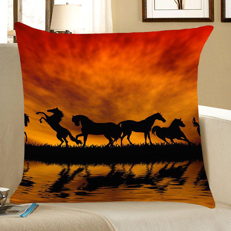 Sunset Running Horses Patterned Throw Pillow CaseHOME<br><br>Size: W18 INCH * L18 INCH; Color: PEARL KUMQUAT; Material: Linen; Fabric Type: Linen; Pattern: Animal; Style: Natural; Shape: Square; Weight: 0.0700kg; Package Contents: 1 x Pillow Case;