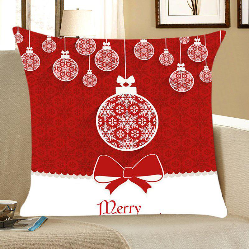 Christmas Balls Patterned Linen Throw Pillow CaseHOME<br><br>Size: W18 INCH * L18 INCH; Color: RED AND WHITE; Material: Linen; Fabric Type: Linen; Pattern: Printed; Style: Festival; Shape: Square; Weight: 0.0700kg; Package Contents: 1 x Pillow Case;