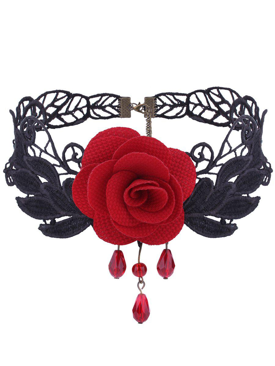 Online Gothic Knitted Leaf Flower Choker Necklace