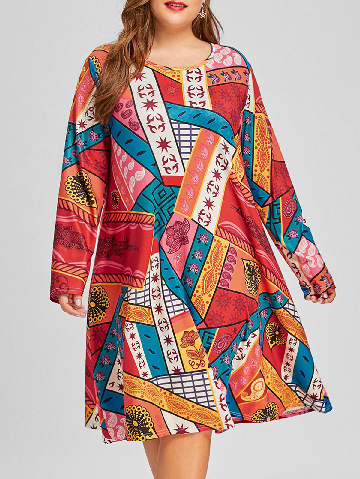 Ethnic Geometric Plus Size Tunic DressWOMEN<br><br>Size: 5XL; Color: COLORMIX; Style: Casual; Material: Polyester; Silhouette: A-Line; Dresses Length: Knee-Length; Neckline: Round Collar; Sleeve Length: Long Sleeves; Pattern Type: Geometric; With Belt: No; Season: Fall,Spring; Weight: 0.4200kg; Package Contents: 1 x Dress;
