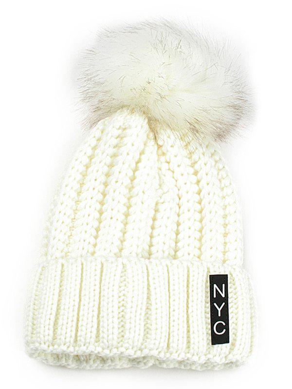 Outdoor Fuzzy Ball Embellished Crochet Knitted BeanieACCESSORIES<br><br>Color: WHITE; Hat Type: Skullies Beanie; Group: Adult; Gender: For Women; Style: Fashion; Pattern Type: Letter; Material: Acrylic; Weight: 0.1200kg; Package Contents: 1 x Hat;