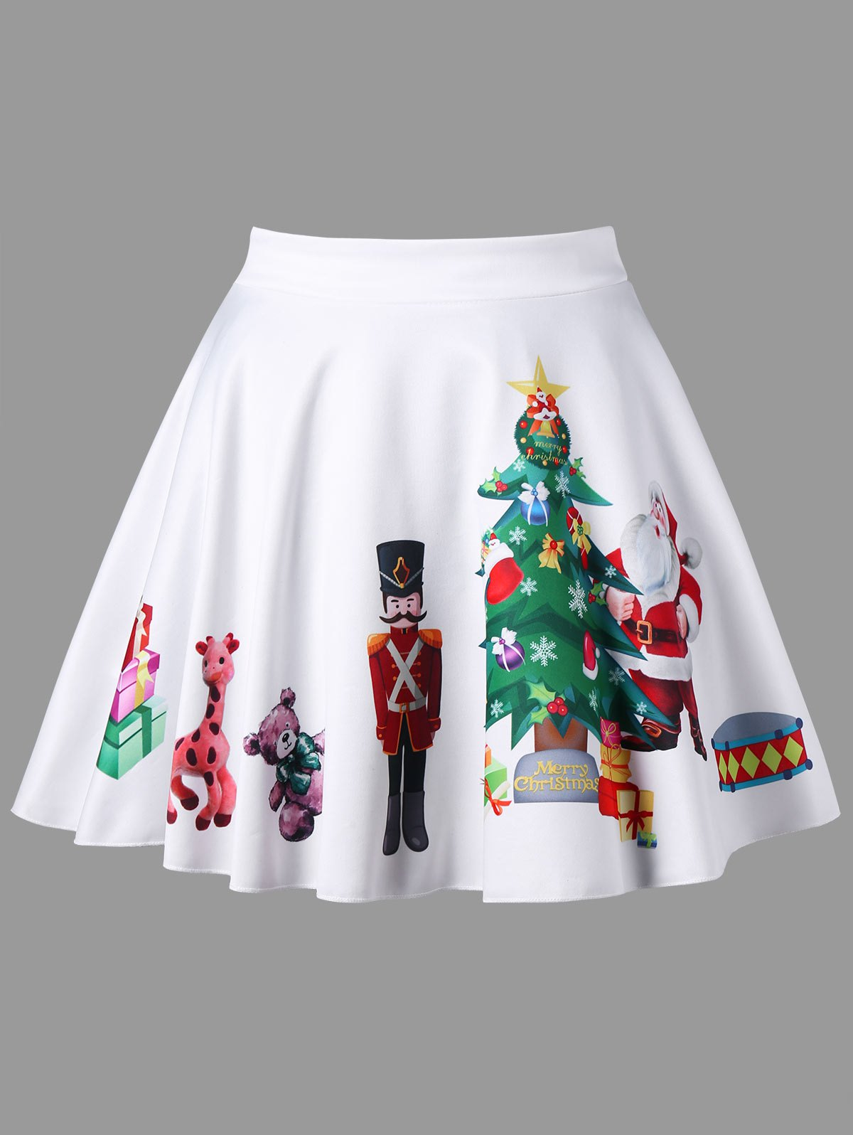 Plus Size Christmas Print Flared SkirtWOMEN<br><br>Size: XL; Color: WHITE; Material: Polyester,Spandex; Length: Mini; Silhouette: A-Line; Pattern Type: Print; Season: Fall,Spring; Weight: 0.1700kg; Package Contents: 1 x Skirt;