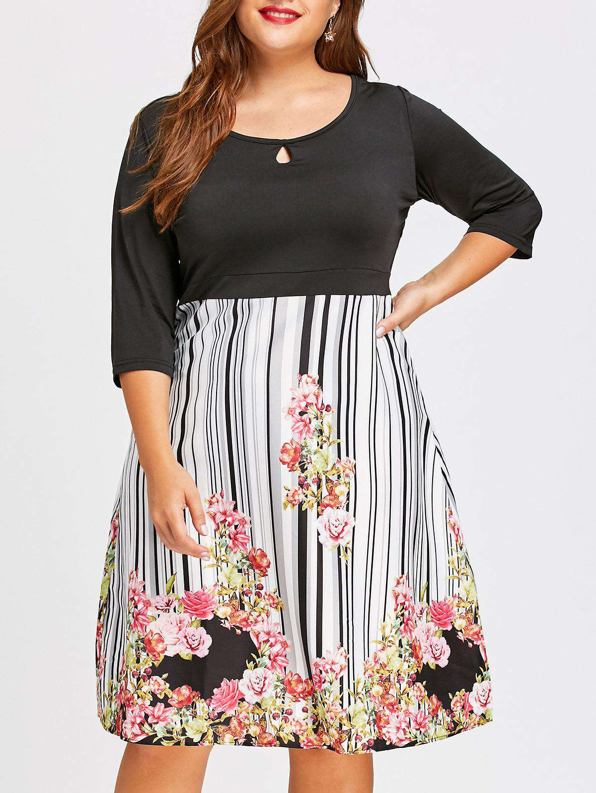 Plus Size Empire Waist Midi Floral  DressWOMEN<br><br>Size: 2XL; Color: BLACK; Style: Casual; Material: Polyester; Silhouette: A-Line; Dresses Length: Knee-Length; Neckline: Scoop Neck; Sleeve Length: 3/4 Length Sleeves; Waist: Empire; Pattern Type: Floral,Print,Striped; With Belt: No; Season: Fall,Winter; Weight: 0.3100kg; Package Contents: 1 x Dress;