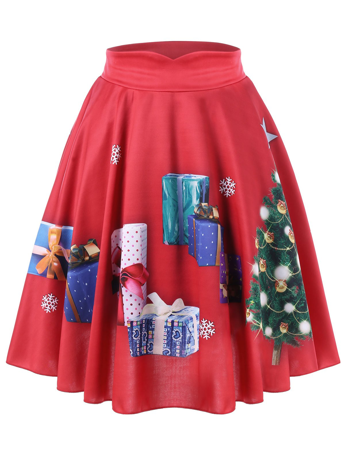 Shop Plus Size Christmas Tree and Gift Print Flared Skirt