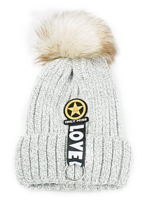 Letter and Star Decorated Flanging Knitted Pom BeanieACCESSORIES<br><br>Color: LIGHT GRAY; Hat Type: Skullies Beanie; Group: Adult; Gender: For Women; Style: Fashion; Pattern Type: Star; Material: Acrylic; Weight: 0.1200kg; Package Contents: 1 x Hat;