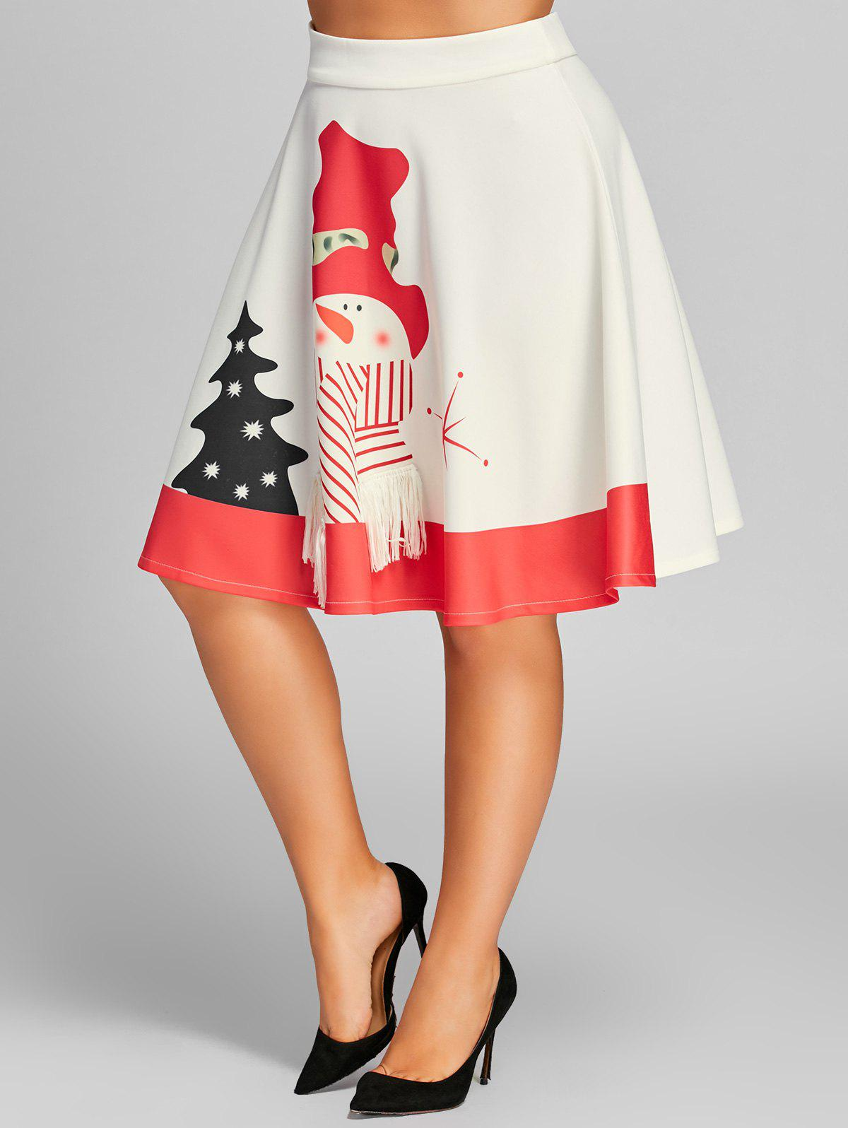 High Waisted Snowman Print Plus Size Christmas SkirtWOMEN<br><br>Size: 4XL; Color: WHITE; Material: Polyester,Spandex; Length: Knee-Length; Silhouette: A-Line; Pattern Type: Print; Season: Fall,Spring; Weight: 0.3500kg; Package Contents: 1 x Skirt;