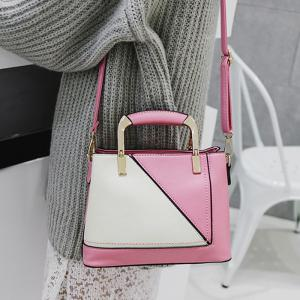 Geometric Color Block Handbag With Pendant -