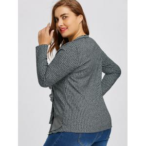 Ruffle Plus Size V-neck Ribbed Sweater -