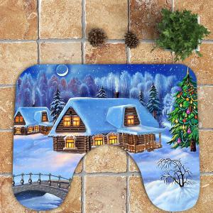 Christmas Snowscape Patterned Bath Toilet Mat Set -