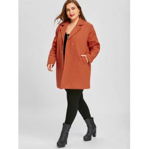 Long Plus Size Lapel Double Breasted Coat -