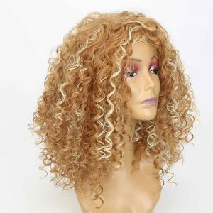 Medium Side Bang Fluffy Curly Highlighted Synthetic Wig -