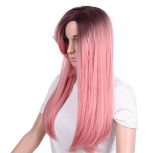 Long Curly Side Parting Ombre Straight Synthetic Wig -