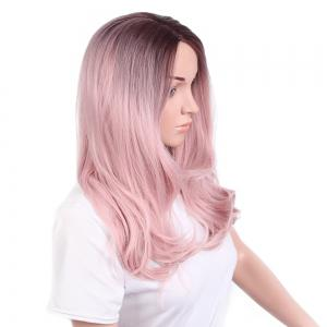 Long Side Parting Wavy Ombre Synthetic Wig -