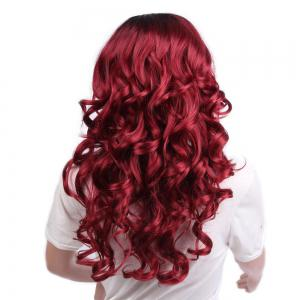 Long Side Parting Ombre Fluffy Loose Wave Synthetic Wig -
