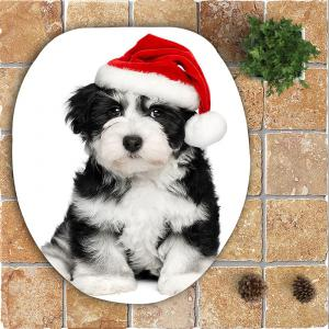 3Pcs Christmas Dog Pattern Bath Toilet Mats Set -