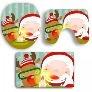 Cute Santa Claus and Elk Printed 3Pcs Bathroom Mats Set -