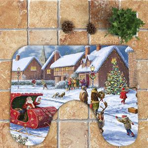 Nonslip Christmas House Printed 3Pcs Bathroom Mats Set -