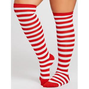 Motif rayé Embellished Couleur Splice Cuisse High Socks -