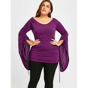 Plus Size Flare Sleeve Ruched Top -