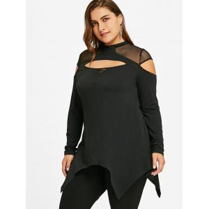 Plus Size Mesh Insert Cut Out Top -