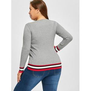 Plus Size Striped Ribbed Knitwear -