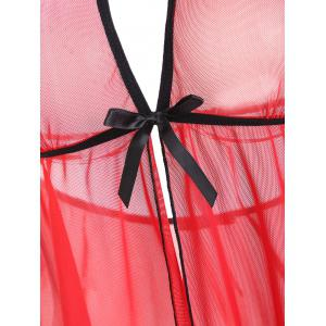 Mesh Backless Split Sheer Babydoll -