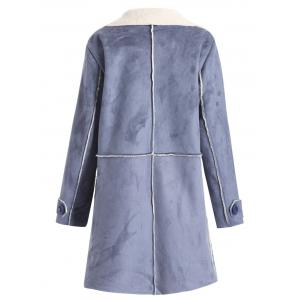 Plus Size Sherpa Lined Long Coat with Pocket -