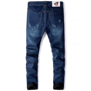 Zip Fly Straight Leg Flocking Jeans -