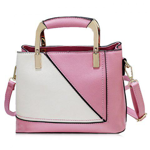 Discount Geometric Color Block Handbag With Pendant