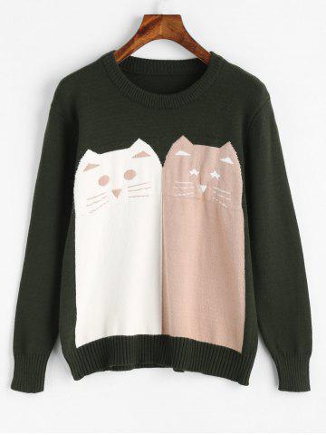 Cheap Crew Neck Cat Pattern Pullover Sweater