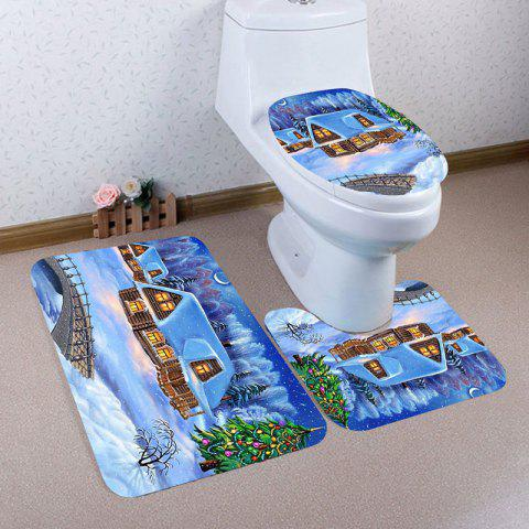 Affordable Christmas Snowscape Patterned Bath Toilet Mat Set