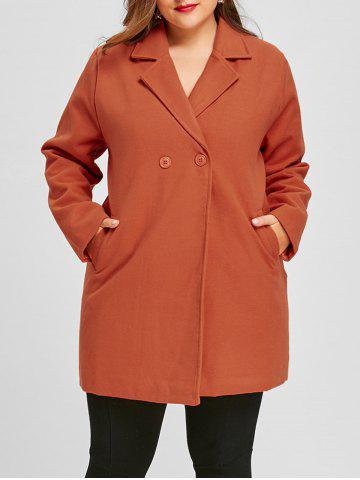 Store Long Plus Size Lapel Double Breasted Coat