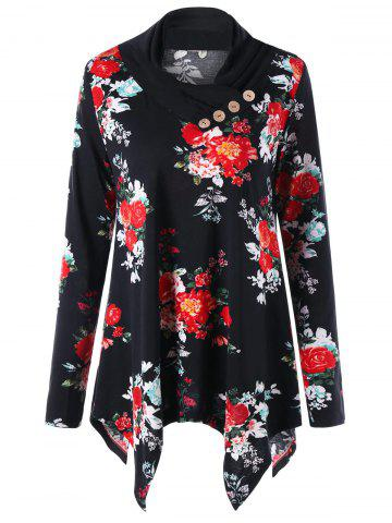Floral Print Heap Collar Asymmetric Tunic Top