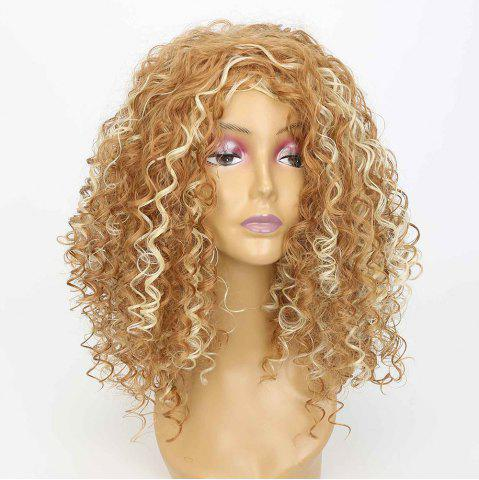 Shops Medium Side Bang Fluffy Curly Highlighted Synthetic Wig