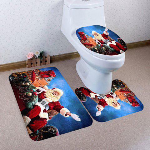 Latest 3Pcs Nonslip Father Christmas Printed Bathroom Mats Set