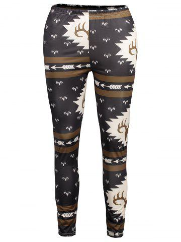 Chic Antlers Print High Waisted Christmas Leggings