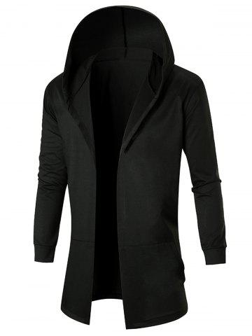New Stretch Long Open Front Hooded Coat