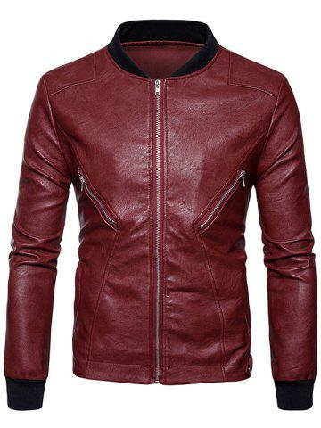 Rib Panel Zip Up PU Leather Jacket