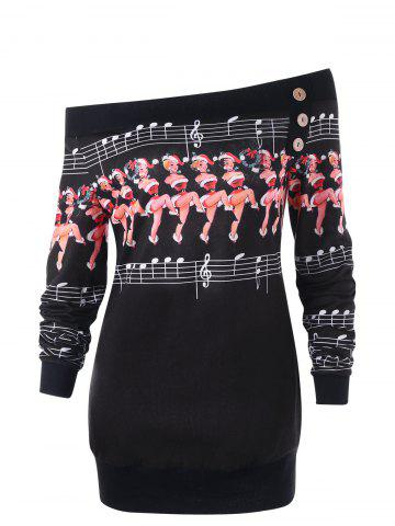 Dancer Pattern Off The Shoulder Sweatshirt