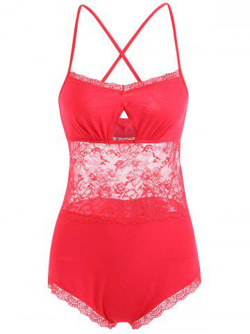 Outfit Criss Cross Lace Slip Teddy