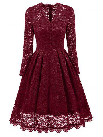 Shop Lace Long Sleeve Vintage A Line Party Dress